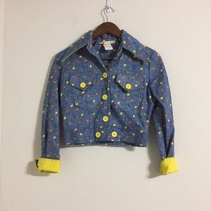 Vintage Jean Jacket Flowers Large Yellow Buttons